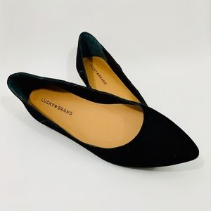 BRAND NEW: Lucky Brand Suede Leather Black Flats